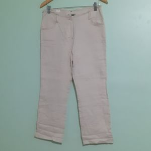 Cream 💯%LINEN relaxed classic straight pants us6